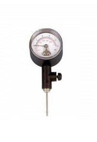 Analog ball pressure gauge with release valve